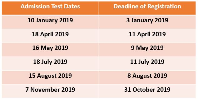 Admission test dates ( 2019)
